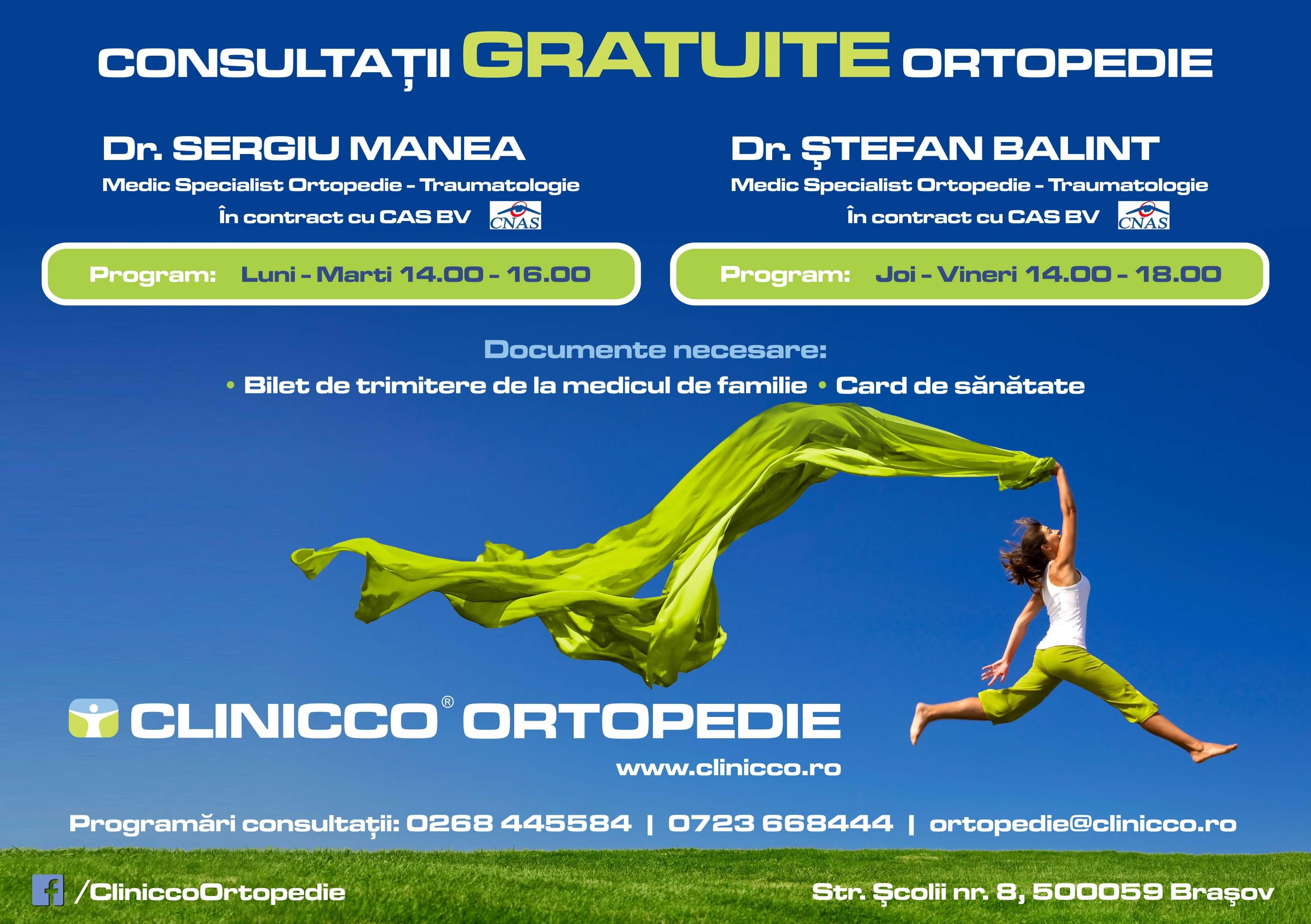 Consultatii gratuite cu bilet de trimitere la Clinicco Ortopedie