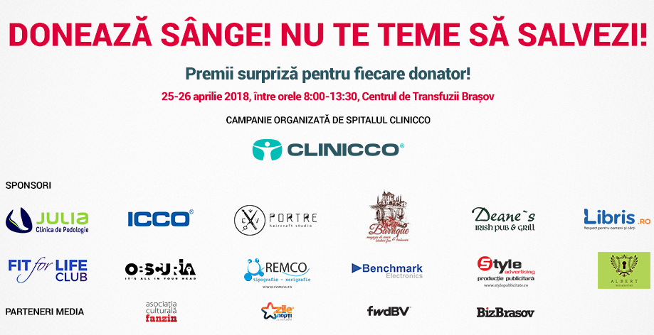 Clinicco organizeaza cea de a VI-a editie a campaniei Doneaza sange! Nu te teme sa salvezi!